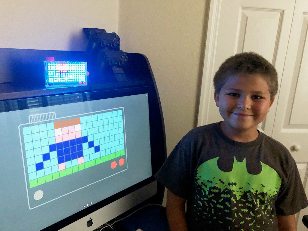 Liam Kimes shows off a Kano Pixel Kit in action